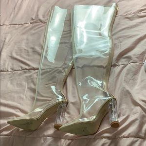 Clear Heel Over the Knee Boots